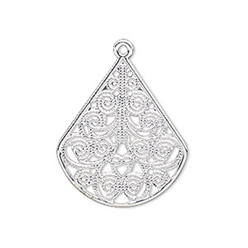 - 10 Bright Silver Filigree Pear Teardrop Chandelier Earring Drops Bead Findings