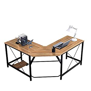 soges Computer Desk L-Shaped Desk Large Corner Desk L(150+150) * W55 * H76 cm Office Table Computer Workstation for Home…