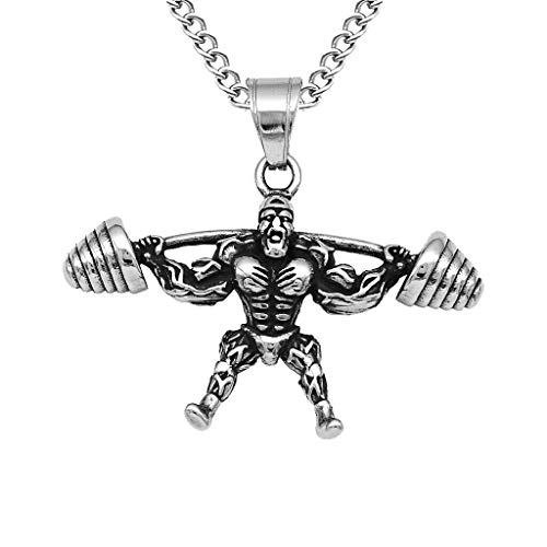 Stainless Steel Wrestling Muscle Men Pendant Sports Game Biker Mens Necklace Jewelry Crafting Key Chain Bracelet Pendants Accessories Best| Item - Muscle Men Barbell Silver