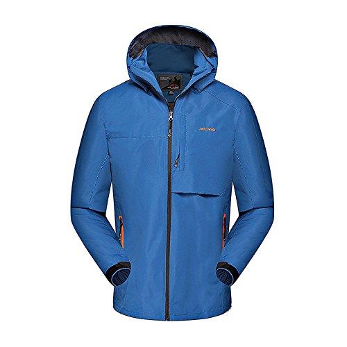 DYF Manteau Hommes Veste de Ski Bas Fermeture éclair Manches Longues Chapeau Chaud épaissi,Bleu,XXL