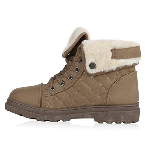 Damen Stiefeletten Outdoor Boots Warm Gefütterte Schnürstiefeletten Schnürschuhe Lack Zipper Profilsohle Winter Schuhe Flandell Khaki Gesteppt