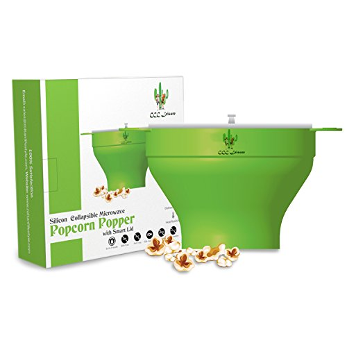 CCC Leisure Collapsible Silicone Bowl Healthy Microwave Popcorn Popper With Easy Grip Suction Lid & Heat Resistant Large Carry Handles, Two Sizes Portions for any Family, PBA Free, Emerald Green by CCC Leisure