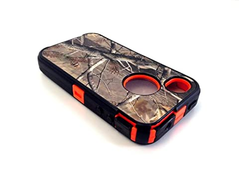 Hunting Tree Camouflage Grass Camo Case for Iphone 4 4S Orange (Pink Camo Otterbox Iphone 4s Case)