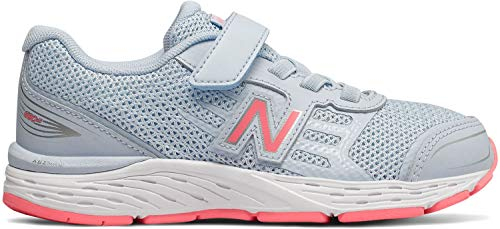 New Balance Girls' 680v5 Hook and Loop Running Shoe, air/Guava, 4.5 XW US Big Kid ()