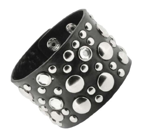 Unisex Metal Spike Studded Punk Rock Wide Strap PU Leather Bracelet (Rhinestones)