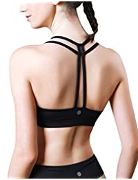 QUEENIEKE Women's Light Support Double-T Back Wirefree Pad Yoga Sports Bra