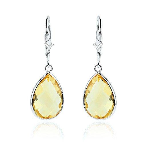 14K White Gold Handmade Gemstone Earrings With Dangling Pear Shape Citrine