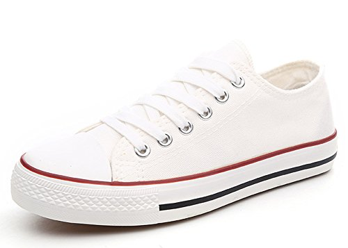 Aisun Women's Classic Comfy Lace up Low Cut Platform Sneakers Canvas Shoes White 2 hAH6eSm
