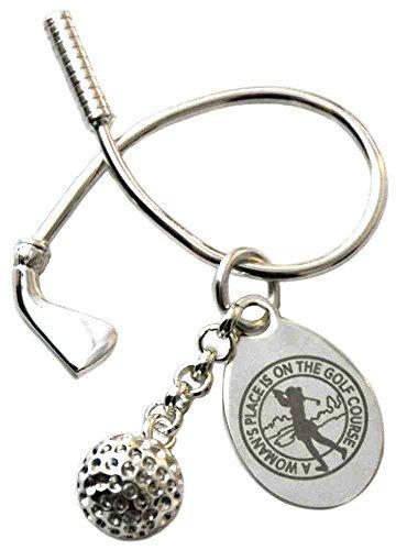 Navika LPGA Women's Place Twisted Club & Golf Ball Key Ring, Silver, 1 2/3 x 1 2/3