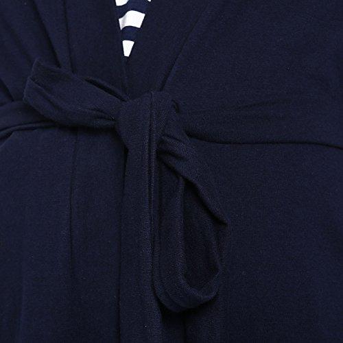 Wobbly Walk Mujeres Maternidad Elegante Abrigo Abrigo Y Enfermera Top Vestido Ropa Azul y blanco