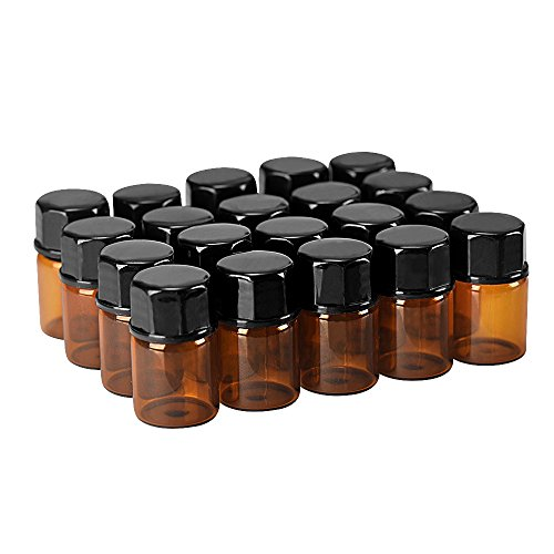 20pack 2ml(5/8 Dram Mini Amber Glass Essential Oils Sample Bottles with Orifice Reducer and Black Caps for Essential Oils,Chemistry Lab Chemicals,Colognes & Perfumes.3 plastic droppers as gift.