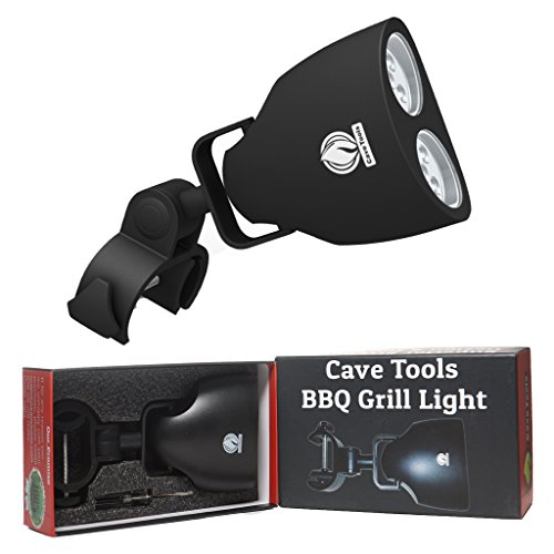 Cave Tools Barbecue Grill Light - Luxurious Gift Box - Upgraded Handle Mount Fits Round & Square Bars on Any BBQ Pit - 10 LED for Grilling at Night - Best Lighting Accessories