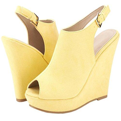 EKS - Sandalias de Punta Descubierta Mujer amarillo