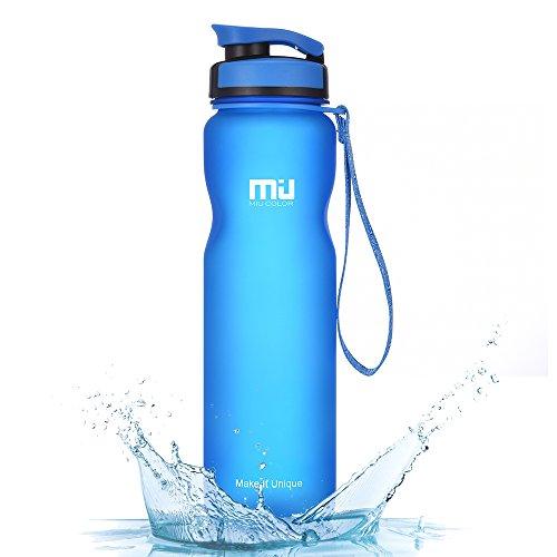 (MIU COLOR Sport Water Bottle 32oz (1L), Leak Proof BPA Free Eco Friendly Plastic Drink Beverage Best Water Bottles for Hiking/Camping/Outdoor/Running/Gym Flip Top Lid & Filter (Blue) )