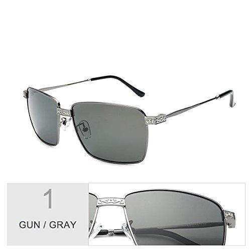 hombre Polaroid sol Sunglasses Gray lentes gris de el de polarizadas TL Gun UV400 gafas gafas Guía por Revestimiento oro Vintage negro qzwR7X4