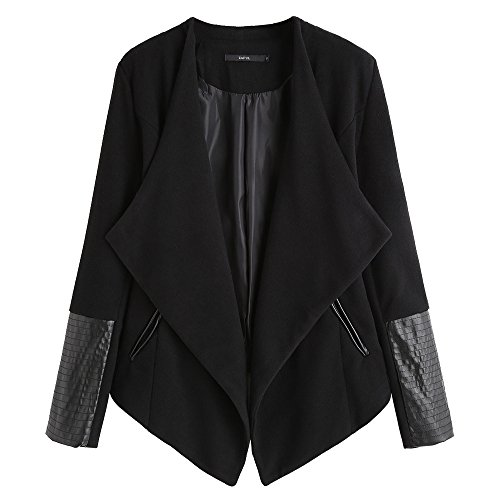 DEZZAL Women's Faux Leather Panel Open Front Asymmetrical Draped Jacket Blazer (L) Faux Leather Panel