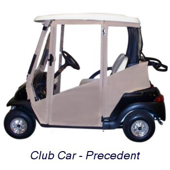 (DoorWorks Hinged Door Golf Cart Enclosure - Marine Grade Vinyl (Tan, Club Car Precedent))