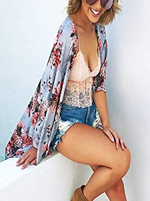 NUWFOR Women Chiffon Floral Shawl Print Kimono Cardigan Top Cover Up Beachwear Shirt