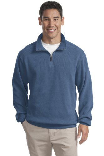 Port Authority Mens Flatback Rib 1 4 Zip Pullover S Harbor Blue