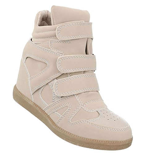 Elegante Damen Sneakers | Sneaker Wedges | Keilabsatz Schuhe | Wedge Sportschuhe | Basketball Style | Freizeitschuhe Klettverschluss | Schuhcity24 Beige