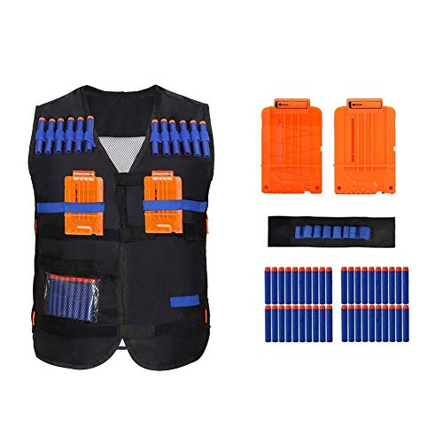Elite Tactical Vest - Tbest Kids Tactical Vest Jacket Kit(Vest+40Pcs Bullet Darts +2Pcs Quick Reload Clip+Wrist Band) for Nerf Guns N-Strike Elite Series (Vest+Wrist Holder+40pcs Bullets+2 pcs 6-Dart Clips)