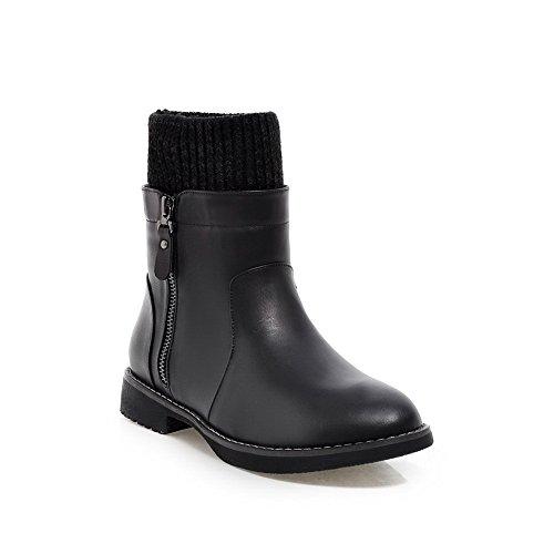 Allhqfashion Women's PU Soft Material Low-Heels Boots with Thread Black 9H7MlON