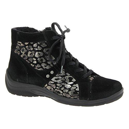 Womens Boots 312801 Waldlaufer Suede Black Hesna g1wxnz