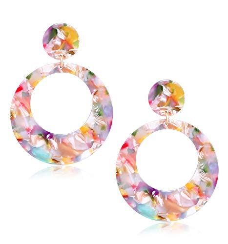 Floral Design Stud - MOLOCH Acrylic for Women Geometry Resin Drop Dangle Earrings Bohemia Tortoise Shell Hoop Earrings Mottled Statement Stud Earrings Fashion Jewelry (Floral)