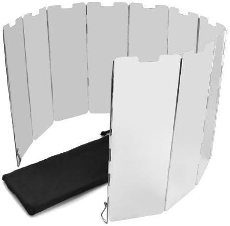 Popamazing Protector plegable con 10 pantallas para hornillos de camping, para proteger del viento cuando se cocina al aire libre