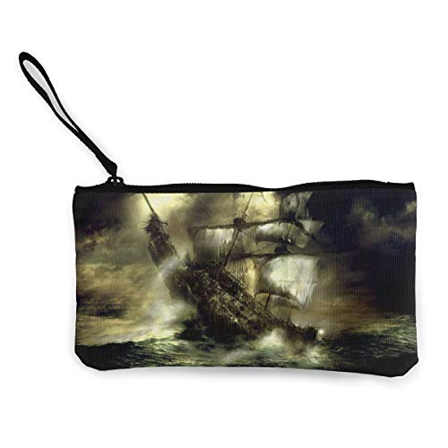 Canvas Pencil Case - Ghost Pirate Ship Durable Cosmetic Makeup Bag Zipper Closure Coin Purse Wallet Phone Pouch with Handle for Kids Adults]()