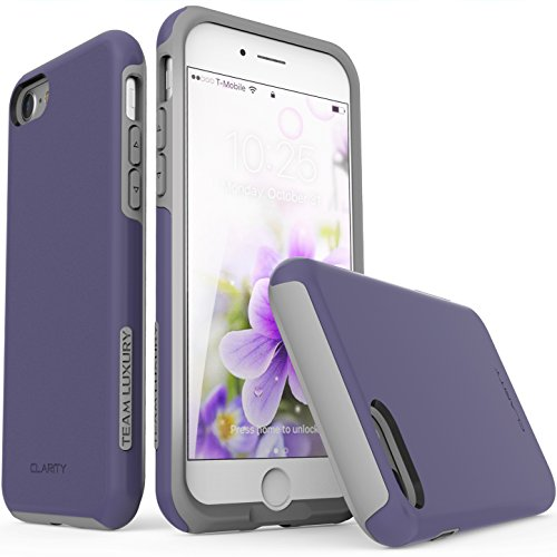 Team Phone - iPhone 7 Case, iPhone 8 case, TEAM LUXURY [Clarity Series] Ultra Defender TPU + PC [Shock Absorbent] Premium Protective Case - for Apple iPhone 7 (Dark Violet/ Gray)