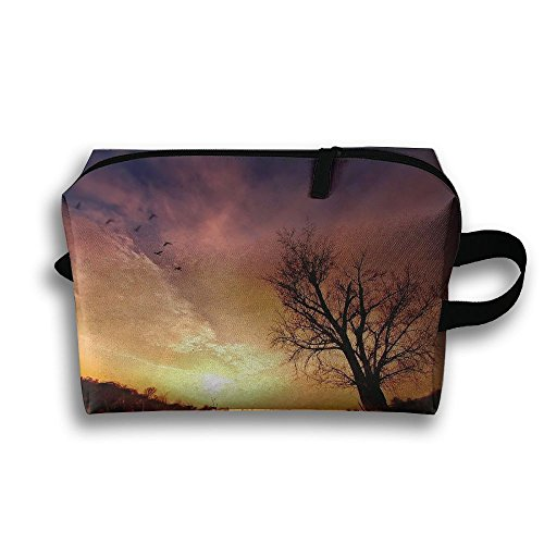 Travel Bag Tree Birds Field Sunset Cosmetic Bags Brush Pouch
