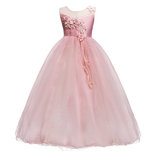 Kids Girls Princess 5-16T Christmas Party Tulle Lace Flower Pageant Dress Floor Length Wedding Bridesmaid Long Holiday Evening Dance Maxi Ball Gown Pink 6-7]()