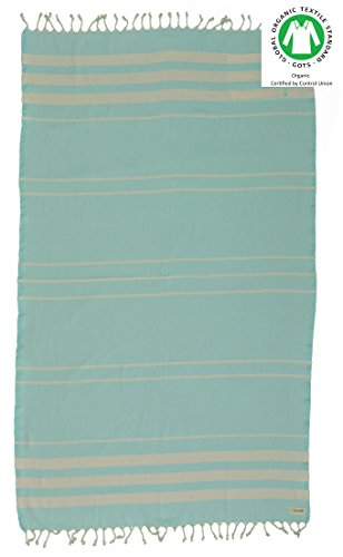 DESIGNER COLLECTION - Bersuse GOTS-Certified 100% Organic Cotton - Key West Turkish Towel Peshtemal - Bath Beach Fouta Pestemal - with Hidden Zipper Pocket - 37X70 Inches, Mint - Clothing West Stores Key In