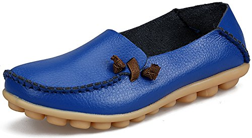 LabatoStyle Women's Genuine Leather Flats Casual Moccasin Driving loafers Shoes (Royal Blue, 8.5 B(M) US)