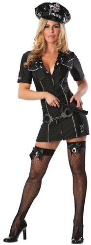 Playboy Officer Bunny Costume, Black, Large