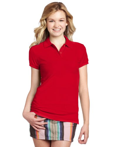 Dickies Girl Juniors Short Sleeve 2 Button Pique (Dickies Cotton Polo Shirt)