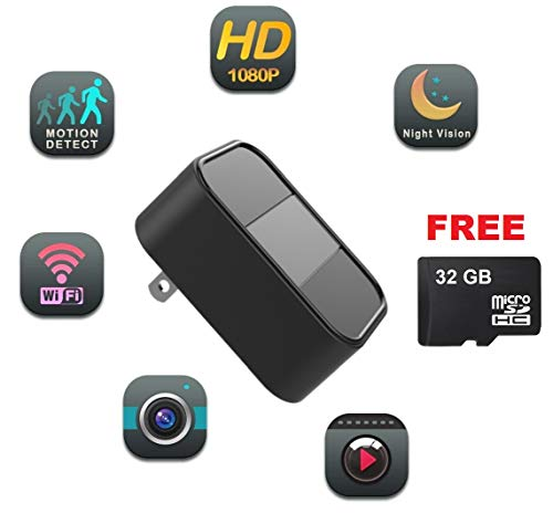 USB Hidden Camera WiFi – DENT Products – Free 32GB Micro SD Card, HD 1080p, Live Streaming Video, IR Night Vision, Motion Detection, Remote View, Supports 64GB