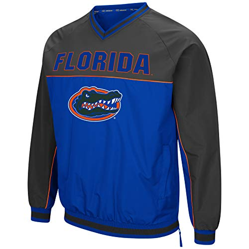 Ncaa Florida Gators Spring (Colosseum Men's NCAA Athletic V-Neck Windbreaker Pullover with Tackle Twill Embroidery-Florida Gators-Blue/Charcoal-Large)