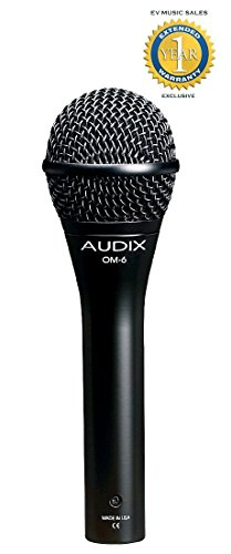 Audix OM6 Hyper-Cardioid Handheld Dynamic Vocal Microphone with 1 Year Free Extended Warranty