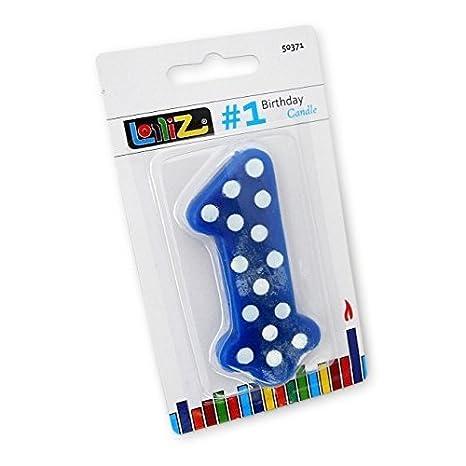 LolliZ - Vela n.º 1 primer cumpleaños. 1 unidad. Azul con ...