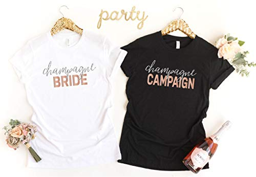 (Bachelorette Party Shirt, Custom Bride Bridesmaid Shirt, Wedding Party, Champagne Bride Champagne Campaign,)
