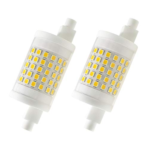 Attaljus R7s LED Bulb 78mm, J Type LED Bulbs Dimmable 80W Halogen Bulbs Equivalent, 10W 120V Double Ended J78 Floodlight, 3000K Warm White Light Bulb for Flood Lamp (2 Packs)