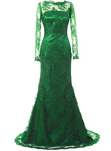 JAEDEN - Vestido - corte imperio - Manga Larga - para mujer Verde