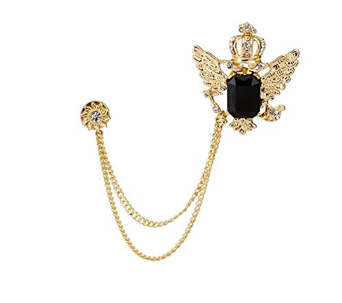 Knighthood Men's Golden Crown with Wing and Black Stone Sunshine Hanging Chain Brooch Golden