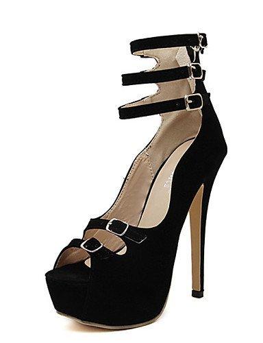 ShangYi Womens Shoes Stiletto Heel Wedges/Open Toe Sandals Casual Black Black