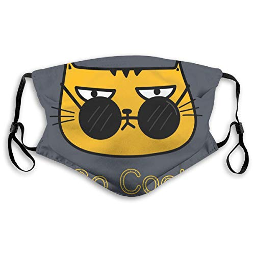 PJKOGMBJ Cool Cat with Sunglasses PM2.5 Mouth Face Masks,Effective Powder and Dust Mask,N95 Mask Washable and Reusable Double Layered Face Mask -Free Two Filters