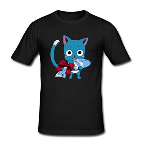 HJGBEDS Mens Japan Anime Fairy Tail Cute Happy Classic T-shirt Medium Black