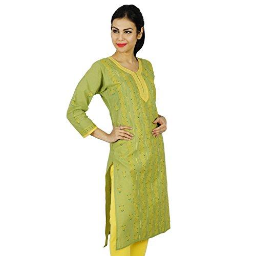 Kurti étnica india de Bollywood bordado Chikan Kurta mujeres vestido casual Verde y amarillo