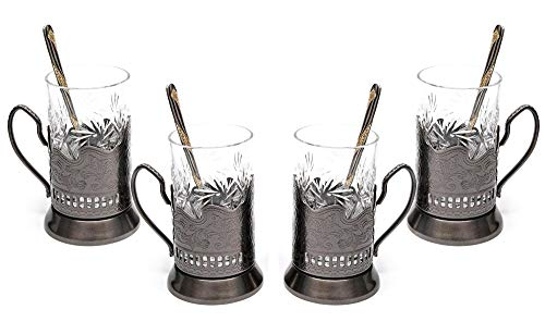 Belarus Vintage Cut Crystal Glass (Set of 4) with Metal Glass Holders and Gold-Plated Teaspoons (Holder Gold Plated)